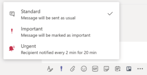 Screenshot of instruction box to set a priority notification in Microsoft Teams