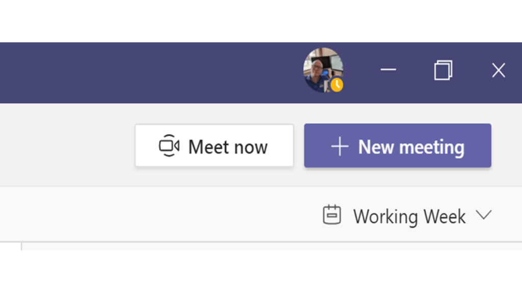 Screenshot of Meet Now button in Microsoft Teams
