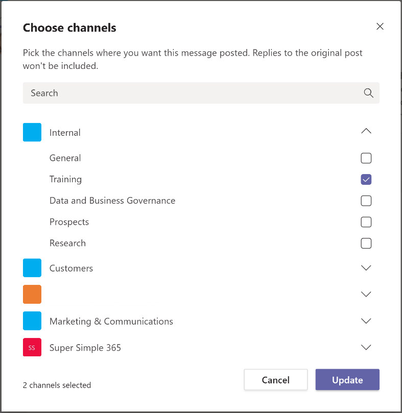 Screenshot of how to post in multiple Teams channels - step two