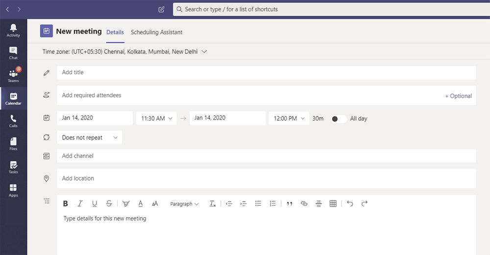 Screenshot to show enhanced scheduling funtionality in Microsoft Teams