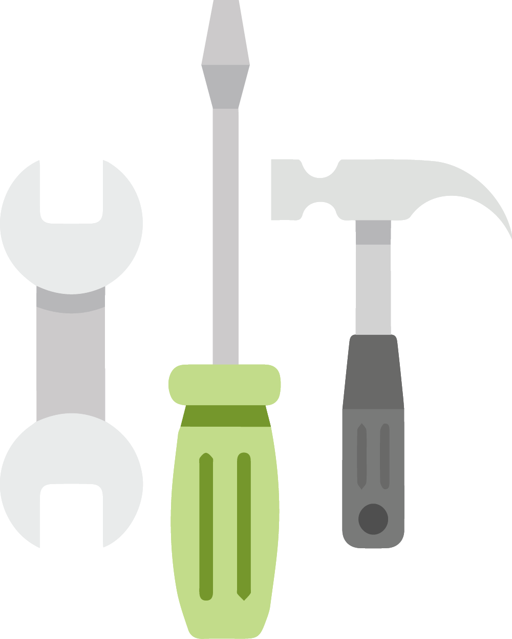 Three tools such as a hammer and screw for our Equip approach in our four E's change management procedure