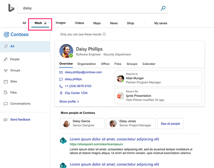 Screenshot of an improved Bing user experience for Microsoft 365