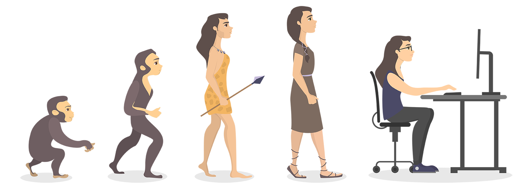 Image to show a woman evolving from ape to office worker
