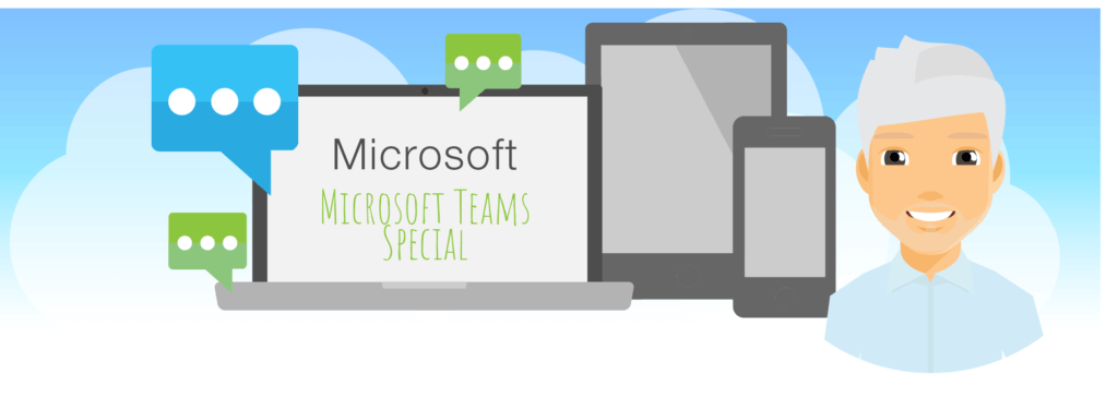 A banner representing Mark's Microsoft monthly blog and this months Microsoft Teams Special