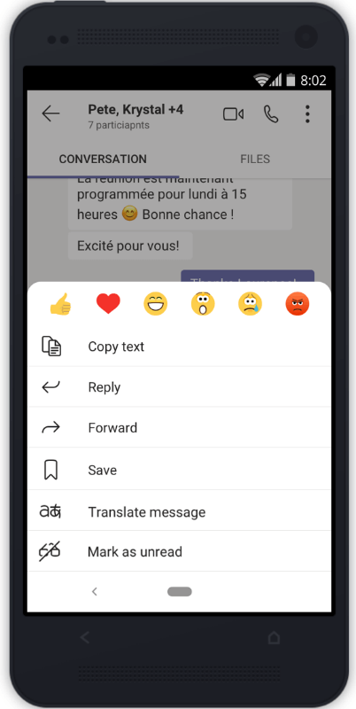 new mobile feature in teams that allows you to translate a message if you long press it