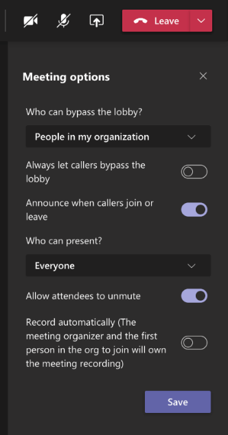 A new feature in Teams that allows the meeting organiser to choose if people can bypass the lobby, allow attendees to unmute themselves, and if meetings can start recording automatically