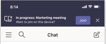 Mobile tab showing you can enter the meeting on your mobile by clicking join button