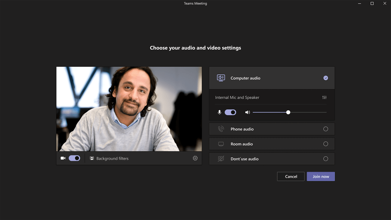 Before you join a meeting on teams you can adjust the camera, microphone, and speaker