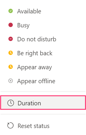 New duration feature on the status tab in Microsoft Teams