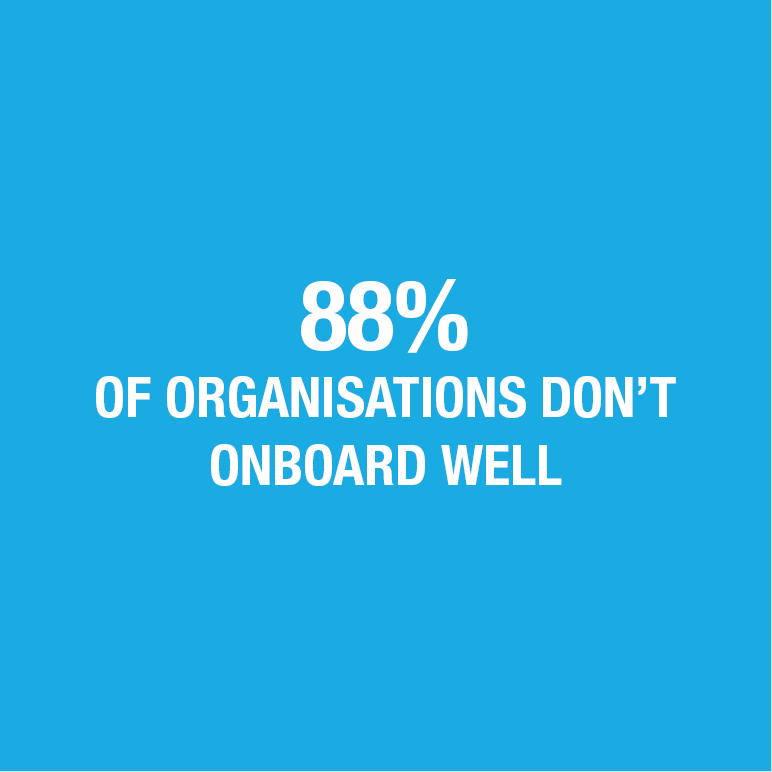 Quote saying 88% of organisations don't onboard well