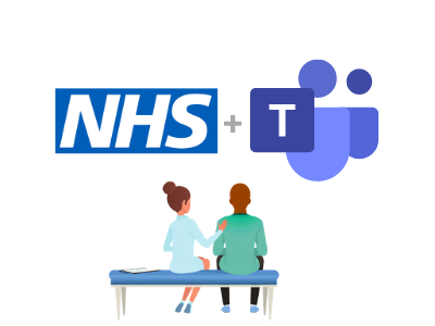 Fictional NHS doctor and patient looking at the NHS logo and Microsoft Teams's logo representing their decision to work together