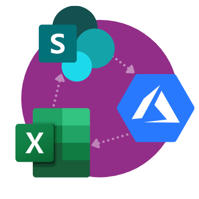 Logos for Azure, SharePoint, and Excel
