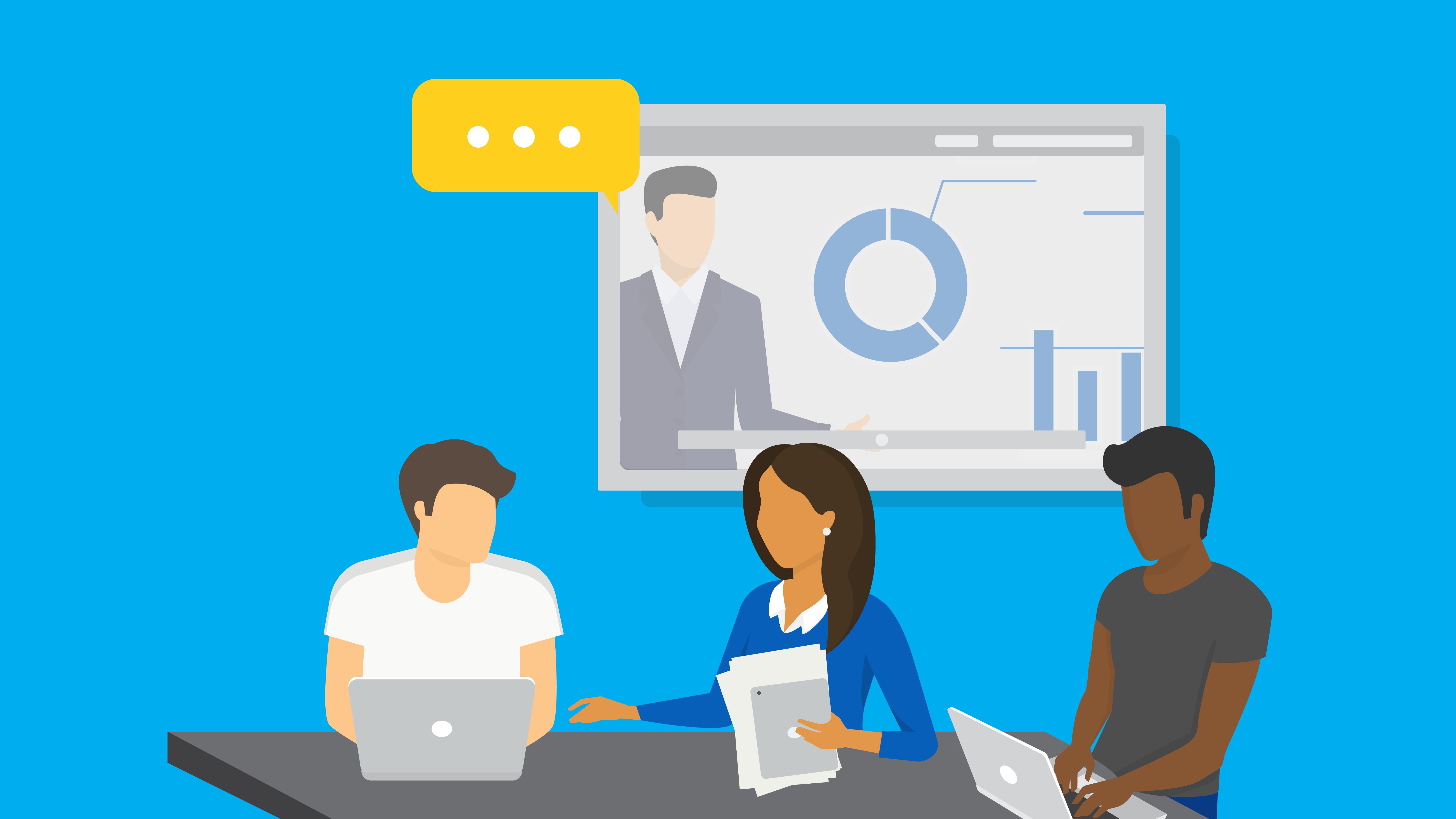 Fictional team members representing Microsoft Teams's virtual meetings