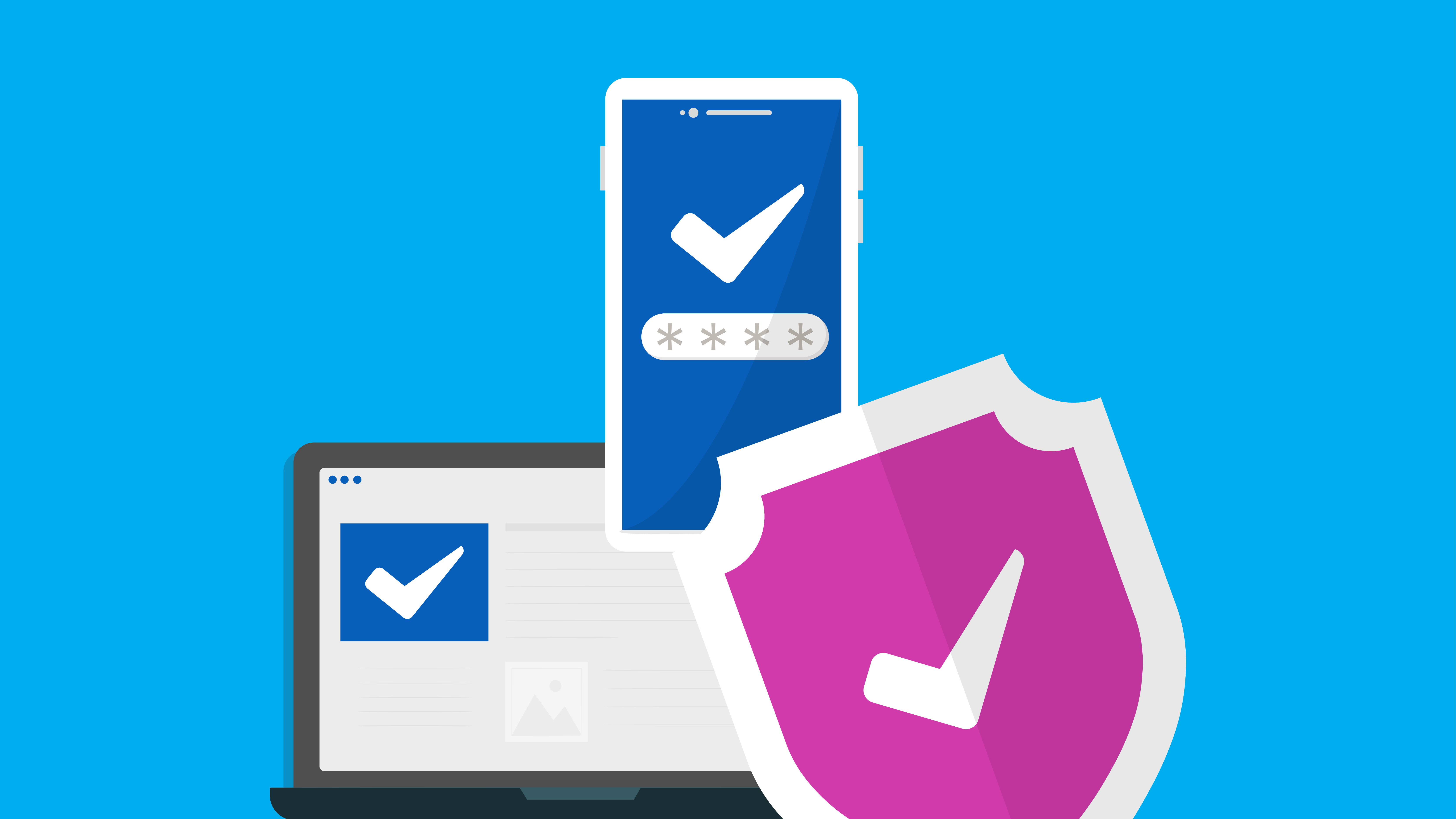 Authentication and security ticks representing Microsoft Teams's safety measures