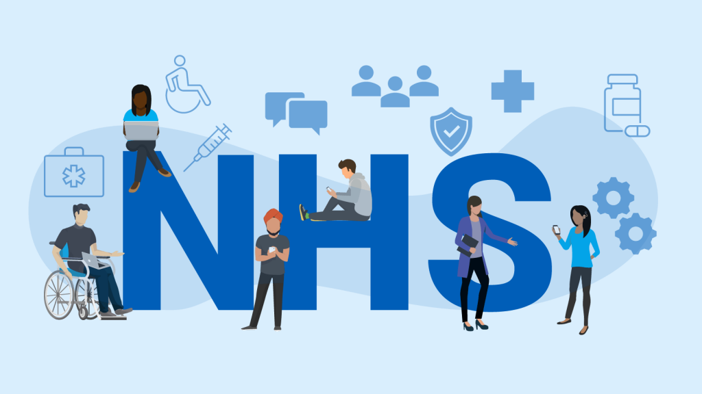 The NHS logo with different types of people sitting around it