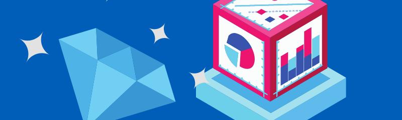 A diamond and report box representing digital transformation