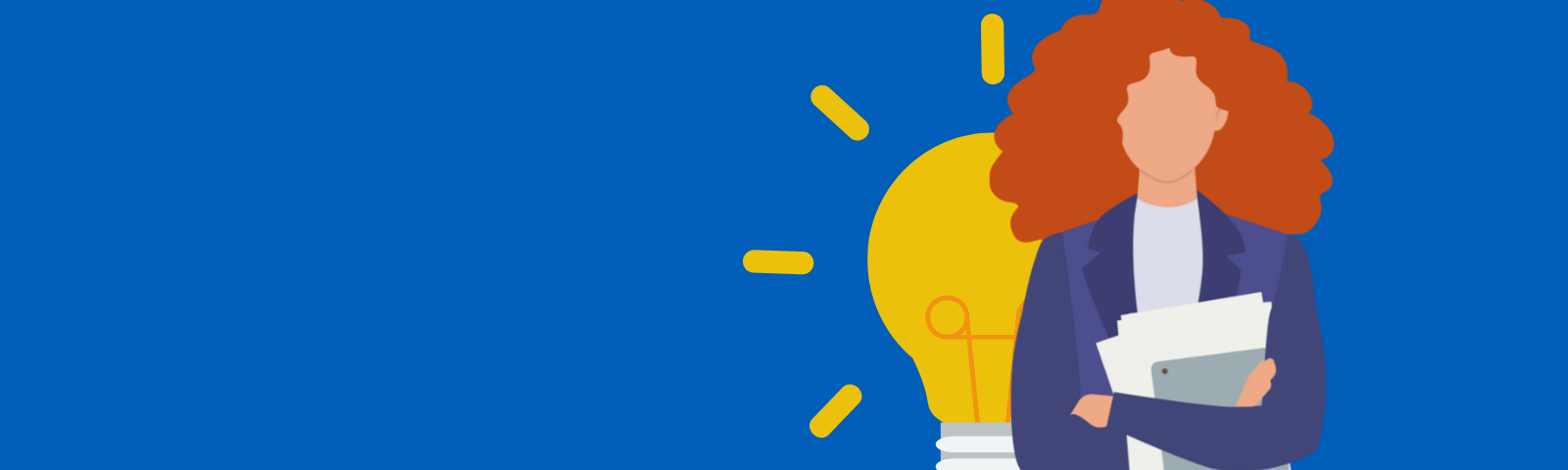A woman and a lightbulb behind her representing our digital transformation blog