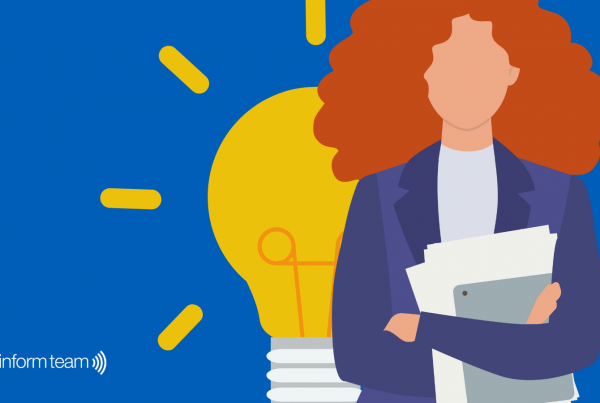 A woman with curly hair and a lightbulb behind her representing our digital transformation blog