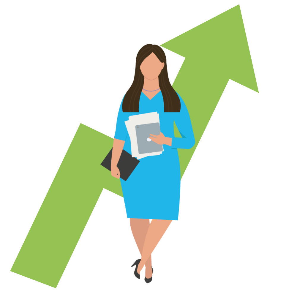woman standing in front of a green tick heading upwards