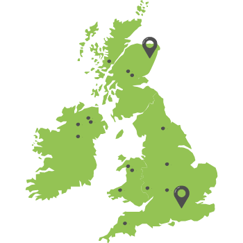A green map of the United Kingdom with grey dots showing Mott MacDonald workers from around the UK