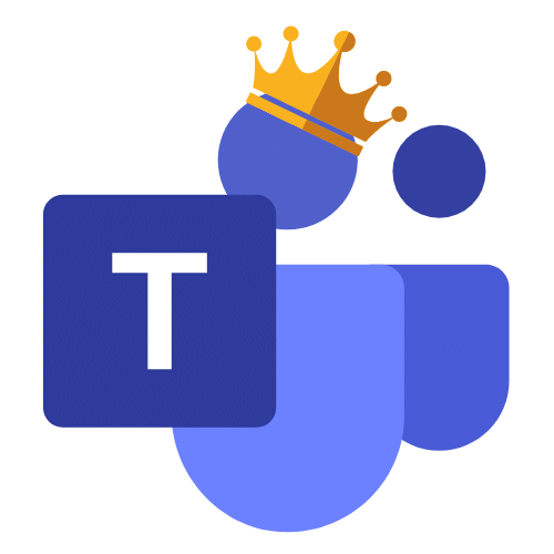 Microsoft Teams logo with a crown resembling the more powerful impact it can have on NHS organisations